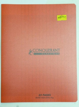 CAHIER PIQUE 17x22 32P ROUGE 90G SEYES POLYPRO