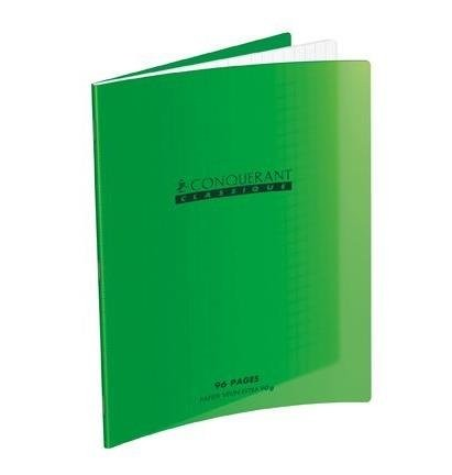 CAHIER PIQUE 17*22. 96PAGES VERT 90GRS SEYES POLYPROPYLENE