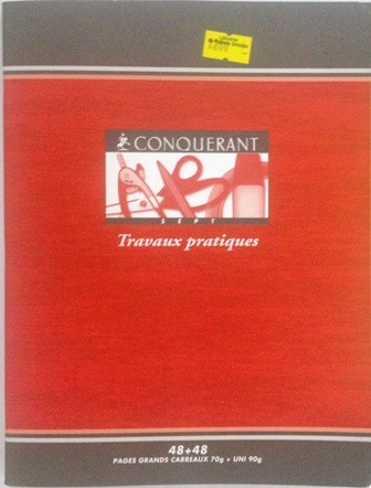 CAHIER PIQUE 24x32. 48PAGES POLYPROPYLENE ROUGE 90GRS SEYES