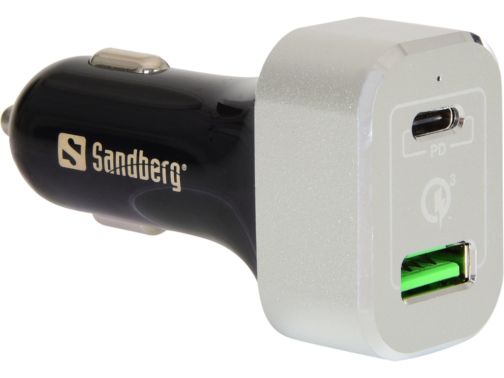 Car Charger USB-C PD+QC3.0 Sandberg 63W